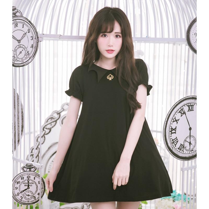 Dolly Delly Harajuku Style Short Sleeve Bat Design Collar Loose Summer Dress with Poker Jack Print