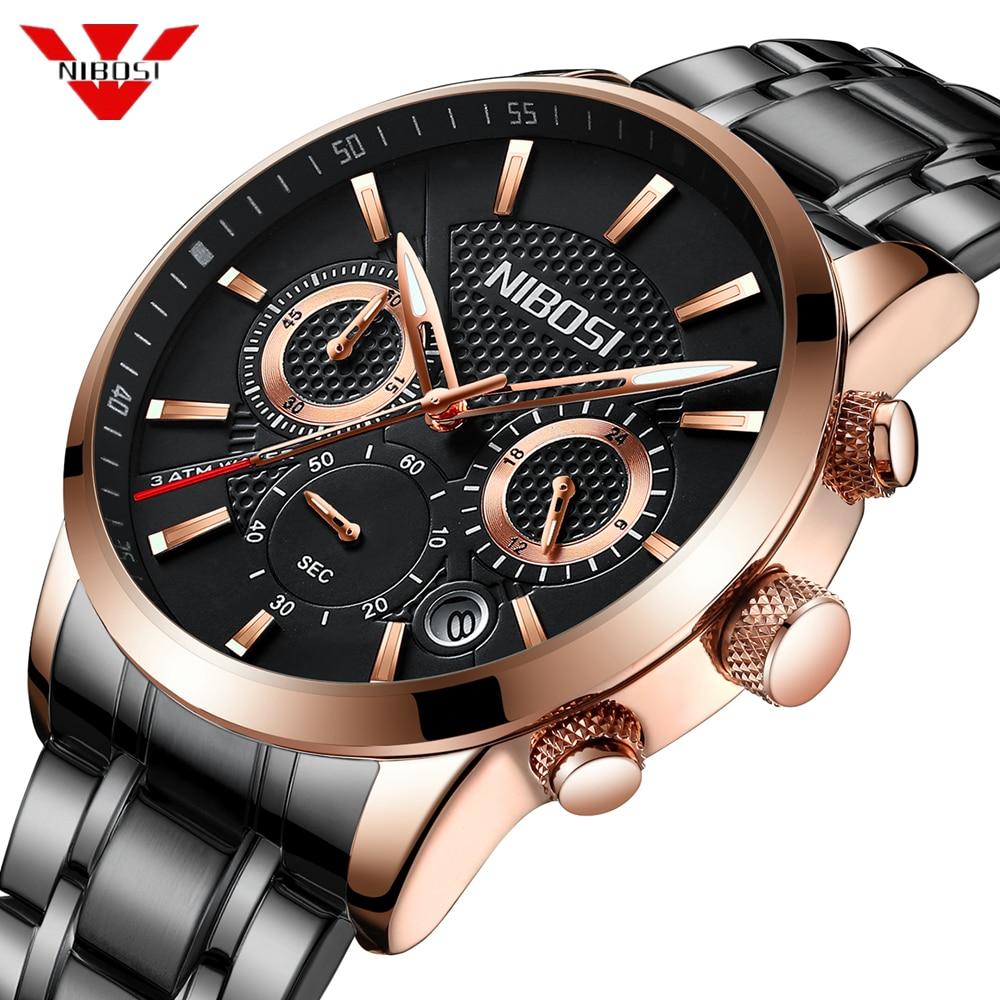 NIBOSI שעון גברים מותג יוקרה אופנה קוורץ ספורט שעון גברים פלדה צבאי שעון עמיד למים זהב גברים של שעון Relogio Masculino