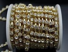 Bande de strass cristal clair 10 Yard 4mm   SS18 grade, bande chaîne en or cristal clair, cadeau de mariage