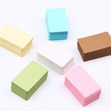 100 unids/caja de cuero de vaca Color Tarjeta de palabra NUEVO papel Kraft en blanco diez opciones tarjeta para manuscrito