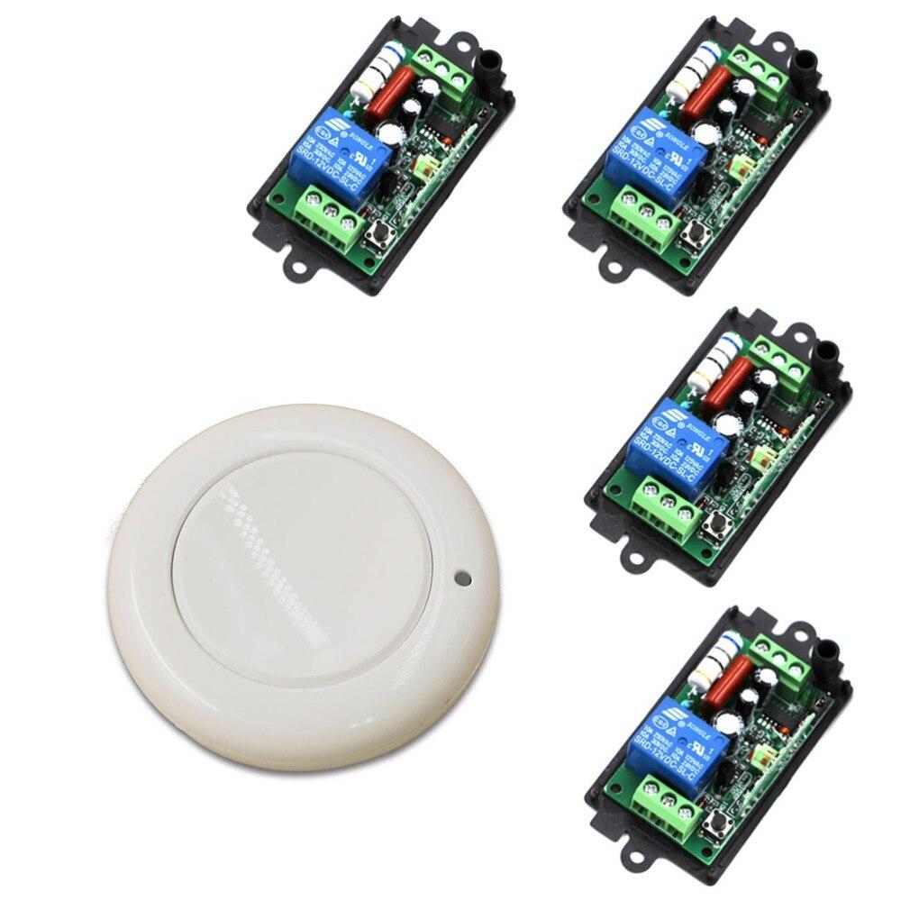 تصميم جديد AC 110V 220V 1CH اللاسلكية التحكم عن بعد التبديل نظام 4 قطعة استقبال و 1 قطعة الأبيض جدار لوحة لزجة عن 315/433