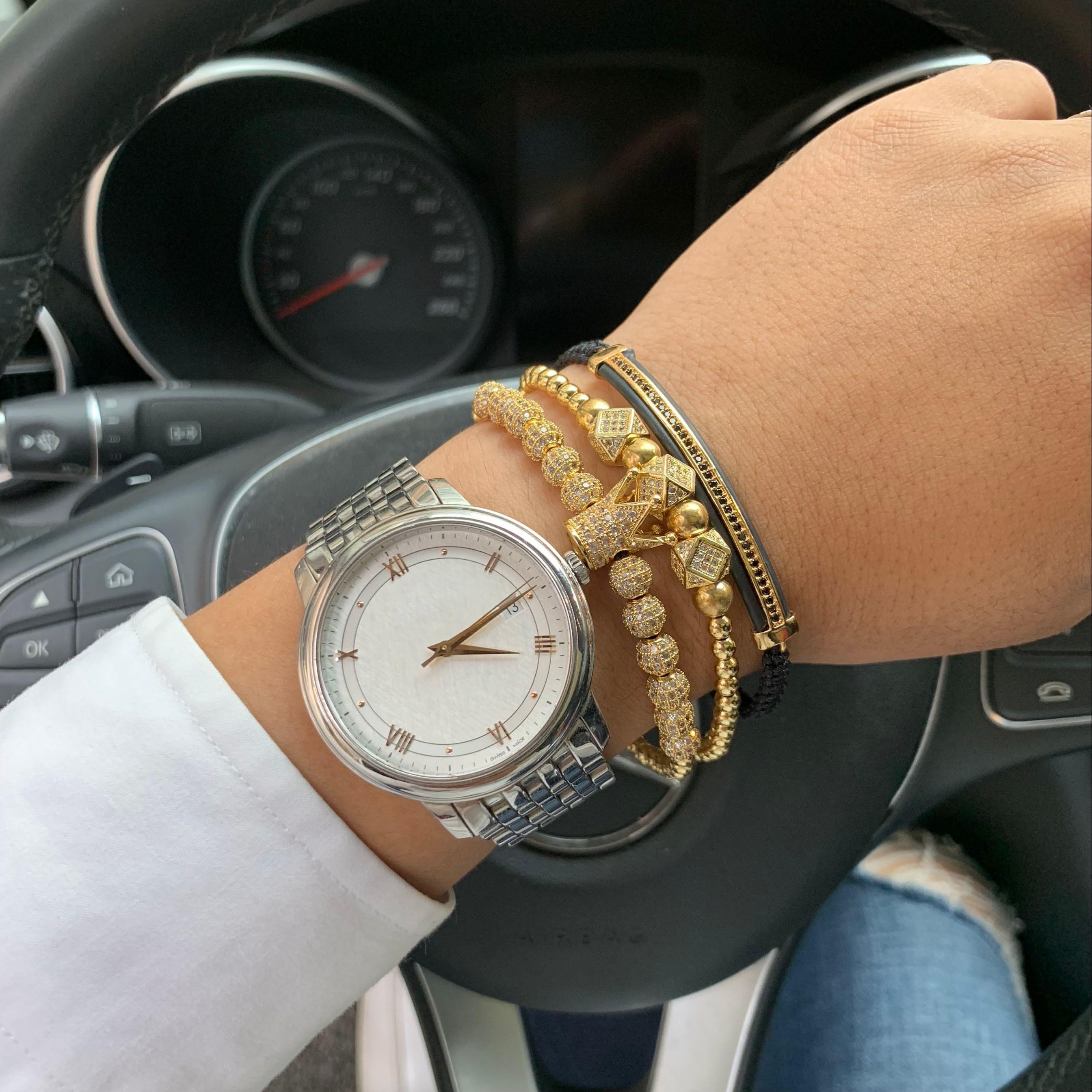 3 unids/set oro de lujo corona de circonia cúbica beads Charm bracelet stacks hecho a mano macramé hombres pulseras y brazaletes para hombres accesorios de joyería