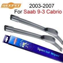 """QEEPEI balais dessuie-glace pour Saab 9-3 Cabrio 2003-2007 23 """"+ 23"""" pare-brise frontal propre en caoutchouc naturel Iso9001 de haute qualité F03"""