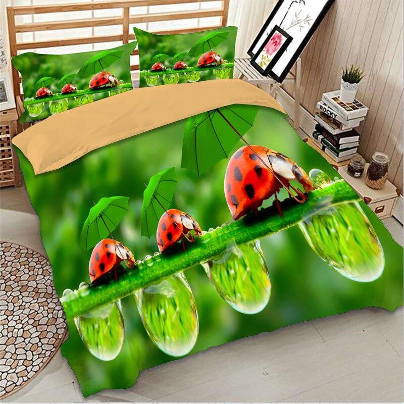 الأخضر الدعسوقة المطبوعة طقم سرير التوأم كامل الملكة الملك الحجم حاف مجموعة تغطية مبطنة واحدة مزدوجة المفارش للأطفال طفل