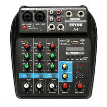 TU04 Bt Sound Mixing Console Record 48V Phantom Power Monitor Aux Paths Plus Effecten 4 Kanalen Audio Mixer Met usb
