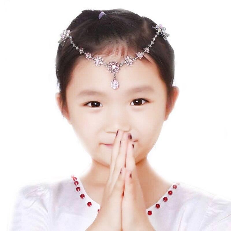 Niños niñas de diamantes de imitación clip princesa banda de pelo cadena frente diadema tiara de joyería para el pelo accesorios de la boda