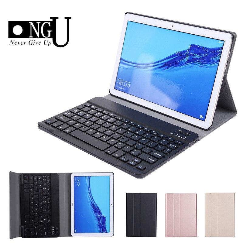 حافظة لوحة المفاتيح المزودة بتقنية البلوتوث لهواتف هواوي ميديا باد T5 10 10.1 AGS2 W09-W19 L03 L09 لوحة مفاتيح قابلة للفصل حافظات جلدية