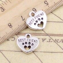 10Pcs Charms Hart Beste Vriend Lock 14X15Mm Tibetaanse Brons Zilver Kleur Hangers Antieke Sieraden Maken Diy handgemaakte Craft