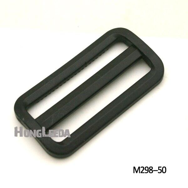 50 Uds 50mm 2 pulgadas negro hebillas ajustables hebilla deslizante de plástico cuadrado anillo correas de mochila correas M298-50