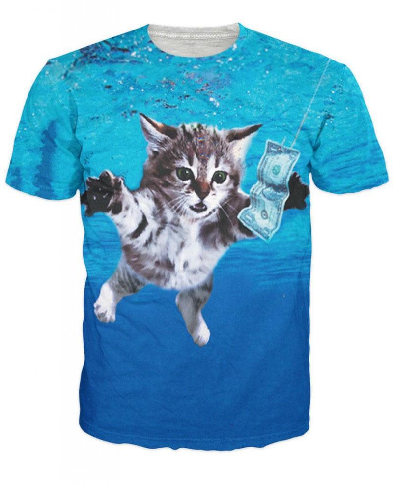 Unisex 3D Fashion Cat Cobain Nirvana T-Shirt Animal Cat T Shirts  Short Sleeve Tee Summer Tops Tees For Women And Men