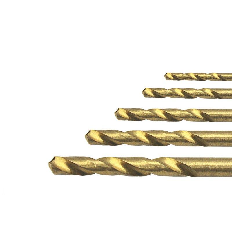 Juego de brocas de acero de alta velocidad HSS, 50 Uds., con revestimiento de titanio, 1mm, 1,5mm, 2mm, 2,5mm, 3mm