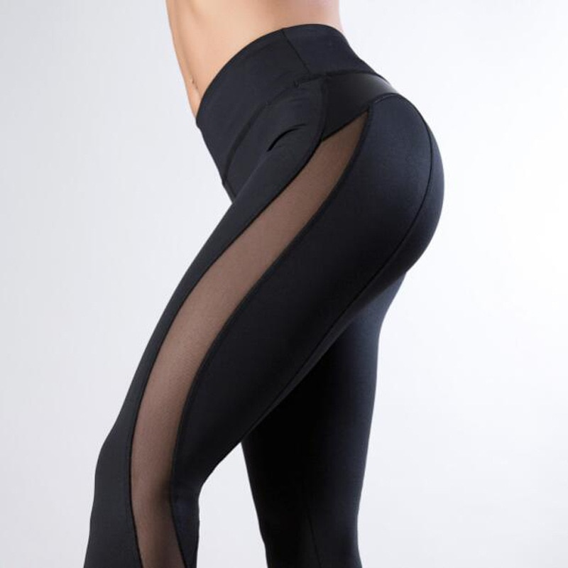XS Women PU Leather Black Mesh Splice Yoga Pants Leggings Fitness Workout Track Gym Clothes Wear Sweatpants Tights Sportswear