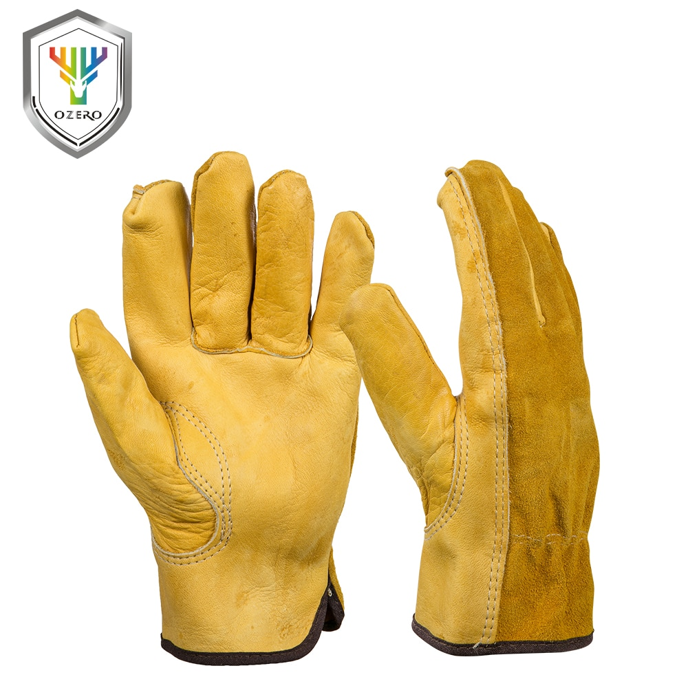 VERKAUF Neue Rindsleder Männer der Arbeit Fahrer Handschuhe Sicherheit Schutz Tragen Sicherheit Arbeiter Schweißen Jagd Handschuhe Für Männer 1008