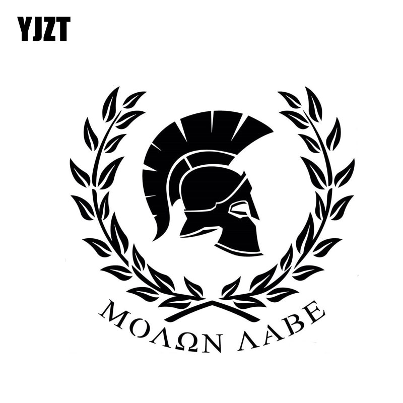 Yjzt 18 cm * 16.6 cm molon labe guerreiro sparta personaily decalque vinil etiqueta do carro preto/prata C10-01056