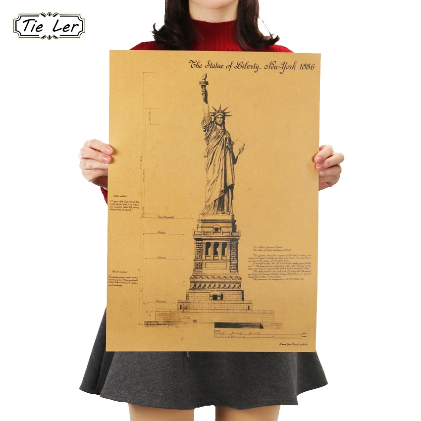 TIE LER The Statue of Liberty In New York Retro Poster Adornment Building Kraft Paper Wall Sticker 51.5X36cm