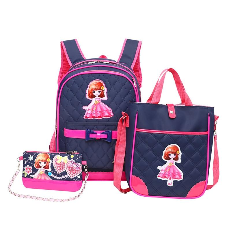 2019 waterproof Children School Bags Girls Backpack Kids Cartoon princess school backpack set Mochila Infantil Primary schoolbag