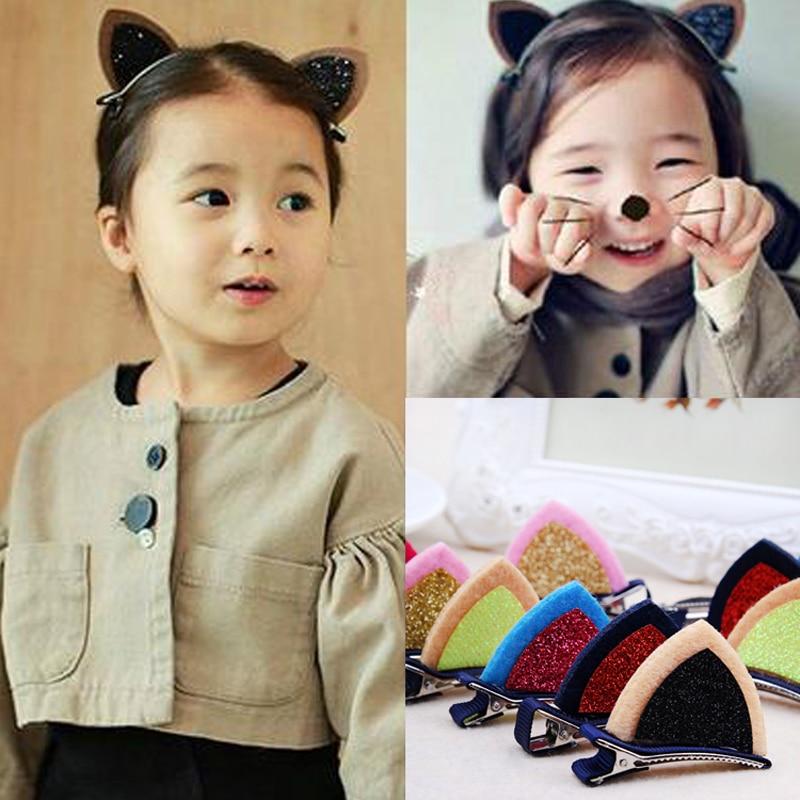 Nuevo 2PSC/Lot chicas lindo Oreja de Gato horquillas princesa pelo brillante Clips broches diademas infantiles niños pelo Accesorios de cabeza