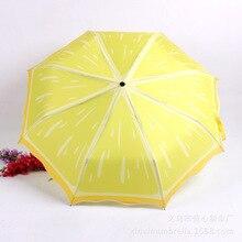 Drie Vouwen fruit watermeloen kiwi citroen printing creatieve paraplu Zonnescherm reclame gift promotionele paraplu