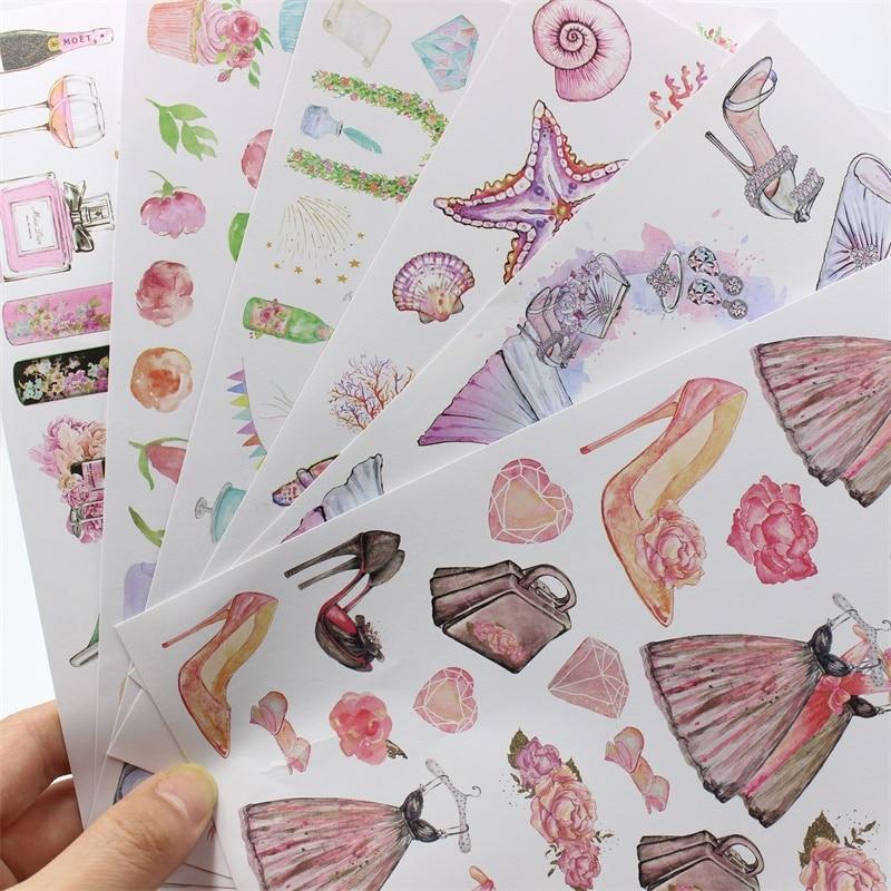 ZFPARTY 6 hojas de papel autoadhesivo de fantasía pegatinas para álbumes de recortes planificador feliz/fabricación de tarjetas/proyecto de diario