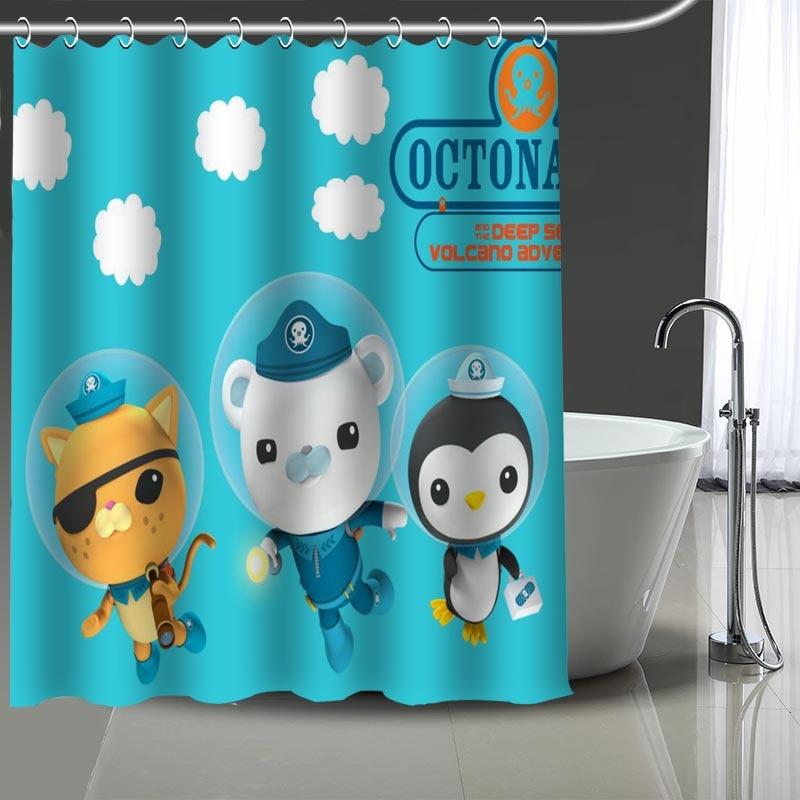 Cortina de ducha personalizada con estampado de octonautas, cortina de baño impermeable de poliéster lavable, cortinas de decoración de baño para el hogar con ganchos