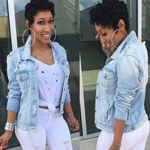 Nouveau femmes Denim veste automne 2019 offre spéciale manches longues Jeans vestes revers hauts poche simple boutonnage décontracté manteau
