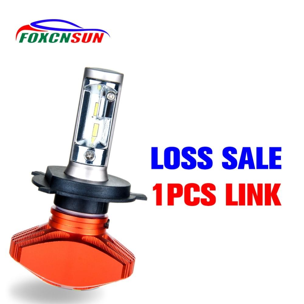 Foxcnsun 1 Uds LED H7 Led H4 Hola Lo haz bombilla de faro delantero de coche sin ventilador H1 H3 H11 H8 H9 9005 HB3 9006 HB4 12V 24V 40W 8000LM 6500K CSP