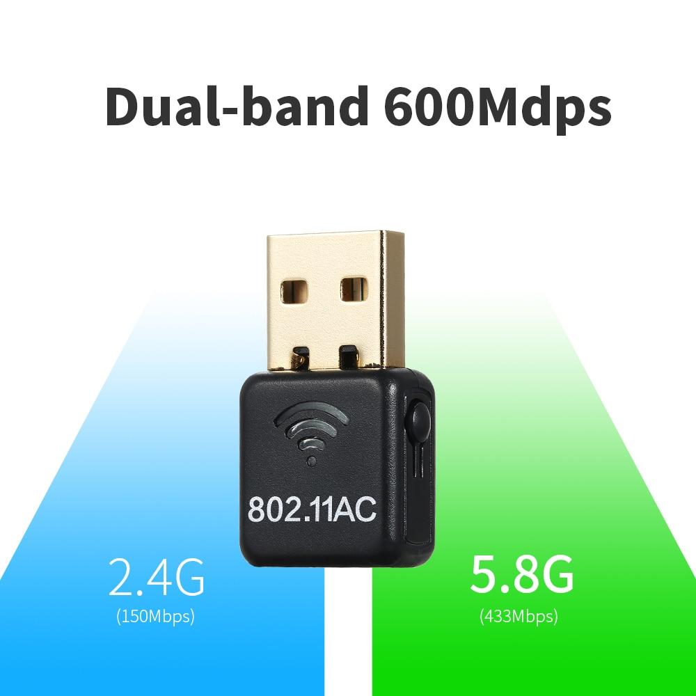 USB inalámbrico WiFi adaptador AC 600 M de doble banda (2,4G/150 Mbps + 5G/433 mbps) mini USB adaptador de red Wifi para Windows/Linux/MAC OS