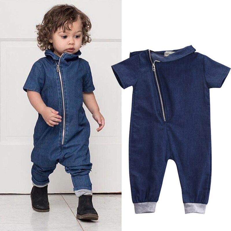 ¡Novedad de 2019! ropa para bebés, mameluco de tela vaquera, ropa a la moda de manga corta, mono con cremallera, atuendos de una pieza
