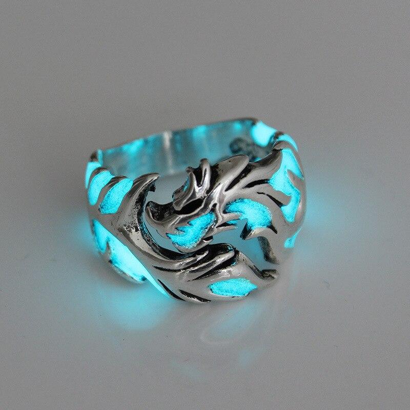 Anillos de dragón luminosos para hombres y mujeres, anillos punk de época que brillan en la oscuridad, anillo de anillo para hombre, joyería, anillo ajustable para hombre