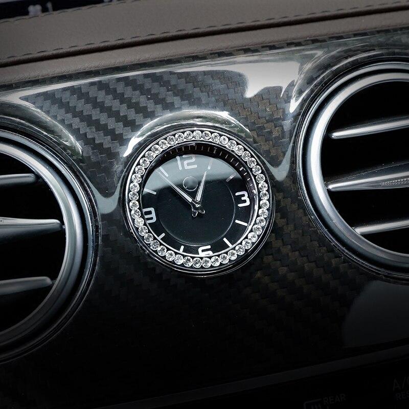 Reloj de Control medio del coche reloj de diamantes de imitación de la cubierta del anillo para Mercedes Benz C E S clase GLC W205 W213 W222 x253 estilo de coche