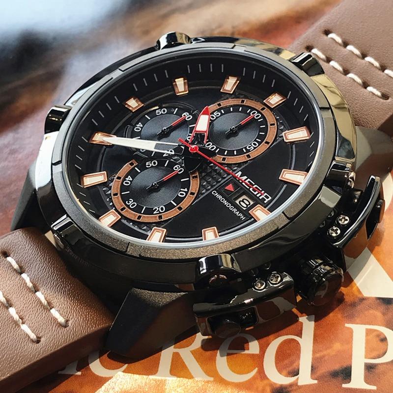 MEGIR творческие спортивные часы Для мужчин модный топ бренд Водонепроницаемый кожаный ремешок Кварцевые наручные часы мужской Relogio Masculino