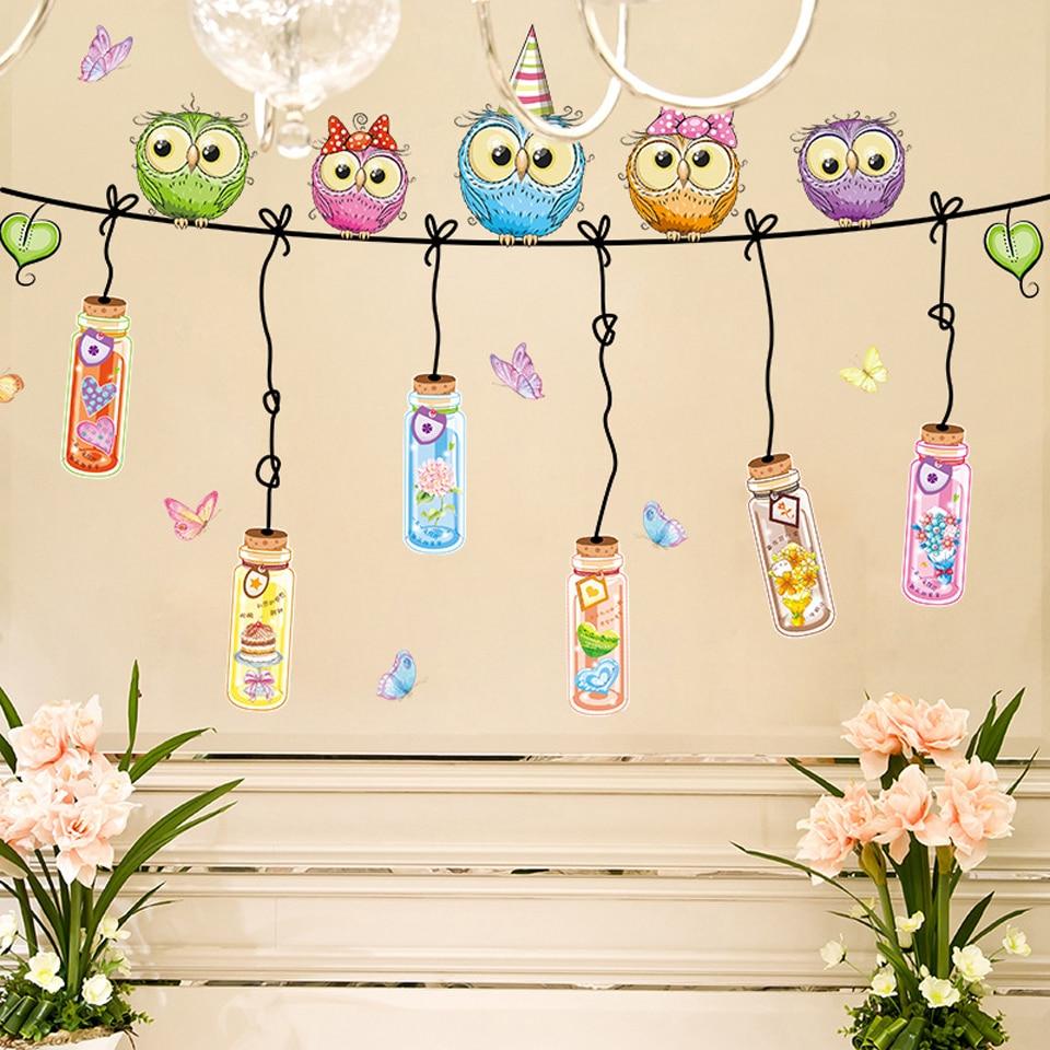Coruja dos desenhos animados adesivos de parede para quartos das crianças meninas meninos quartos decoração do quarto bonito animal papel de parede decalques decoração do quarto dos miúdos