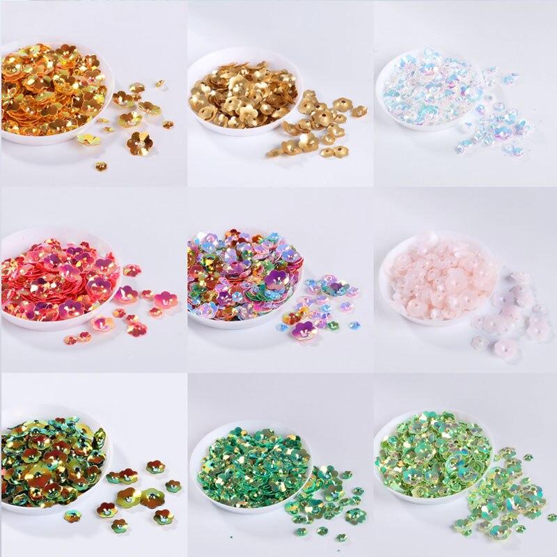 Hot Sale 10 g/pacote Mix Tamanho da Flor da Ameixa Copo Lantejoulas Costura Craft/Enfeite Achados 3D Flores Forma de Lantejoulas Para Artesanato
