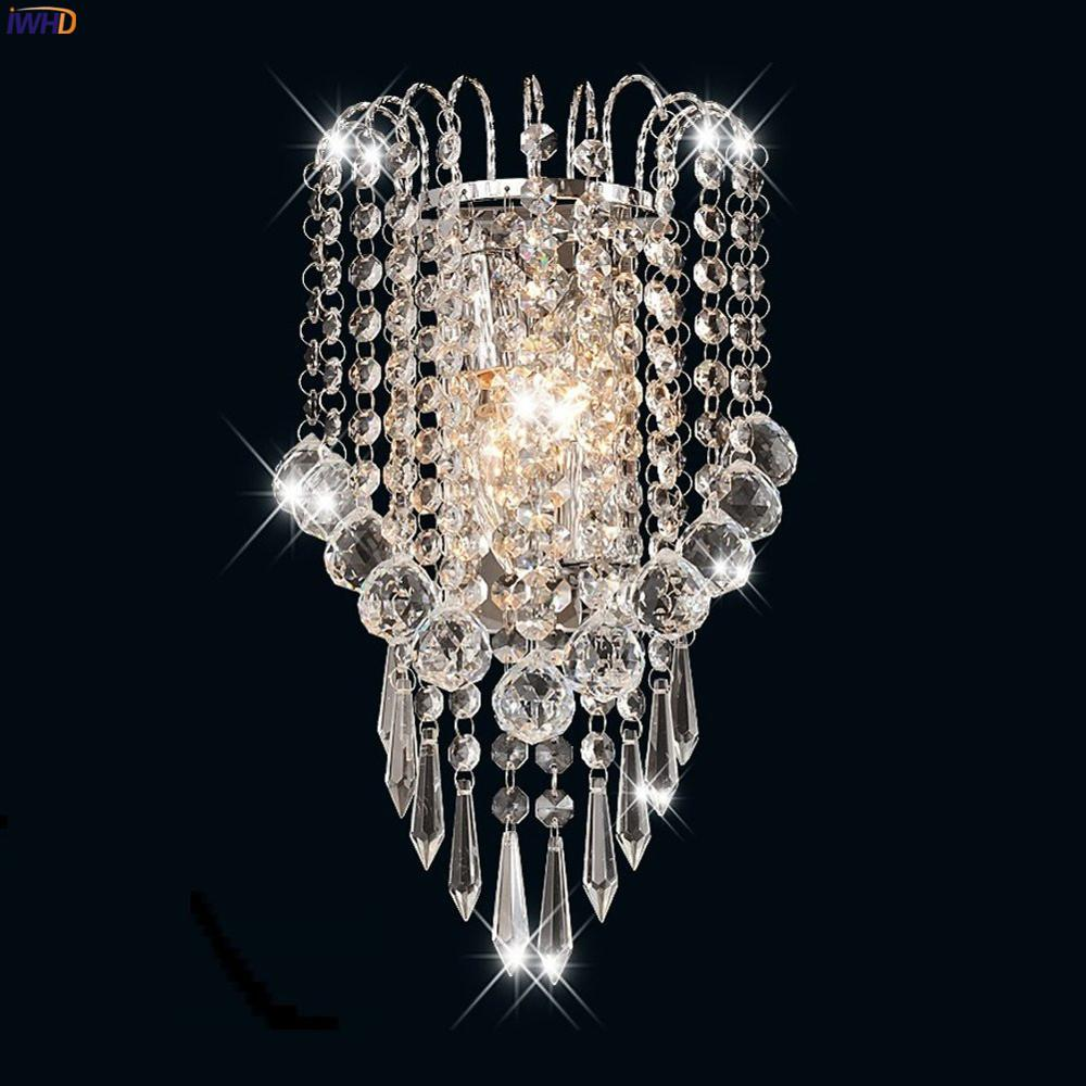 IWHD-Lámpara de Pared de cristal Simple, candelabro moderno para dormitorio, espejo, escalera,...