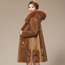 Real wool coat women natural fox fur collar hooded fur jacket new 2019 autumn winter