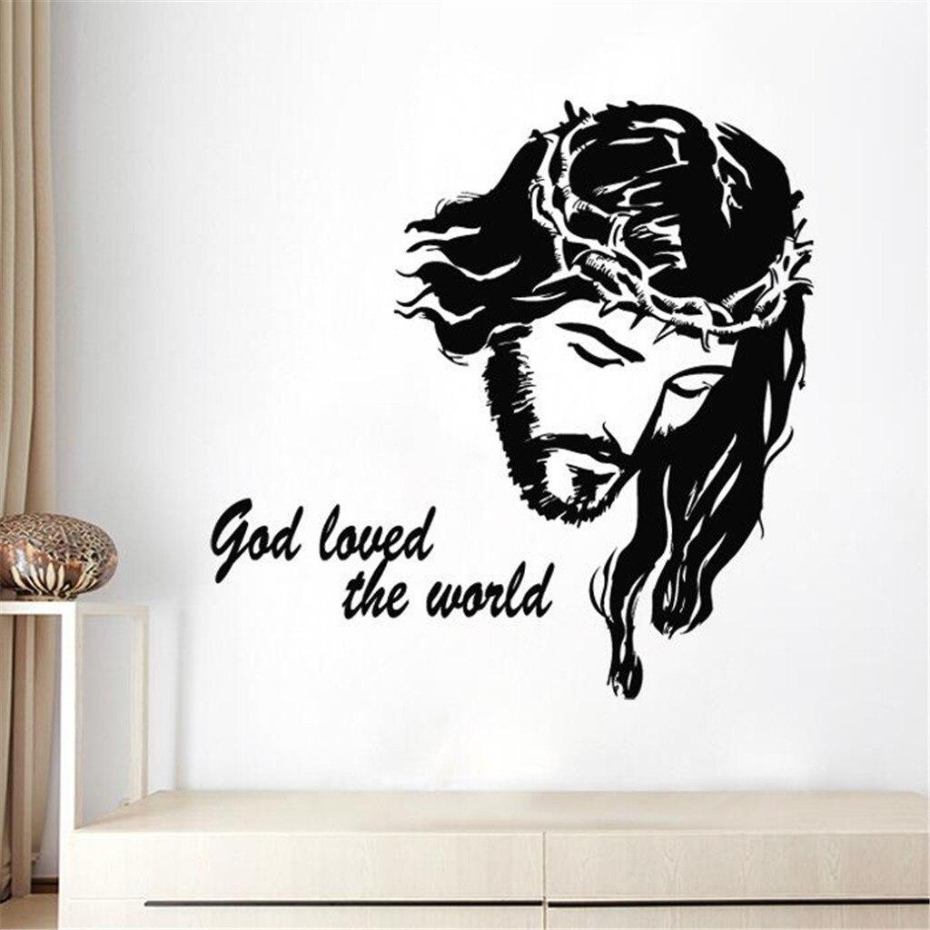 Porque deus Amou O Mundo Móvel Adesivo de Parede Criativo Boa Sexta Afixada Católica Jesus Retrato Da Parede Etiqueta Da Janela Decoração Da Sua Casa