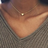 re new heart circle necklace for women short gold color chain pendant choker necklace fashion jewelry gift w2445