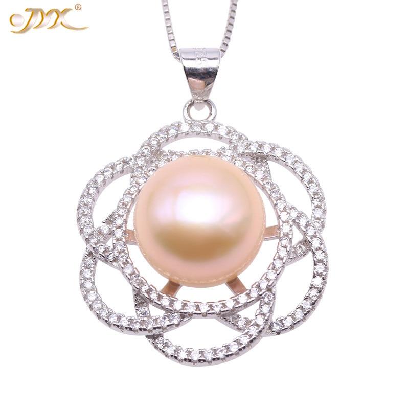 Exquisito colgante de plata esterlina 2019 de JYX 925, colgante de perlas de agua dulce de color rosa o blanco casi redondo de 11,5mm para mujer