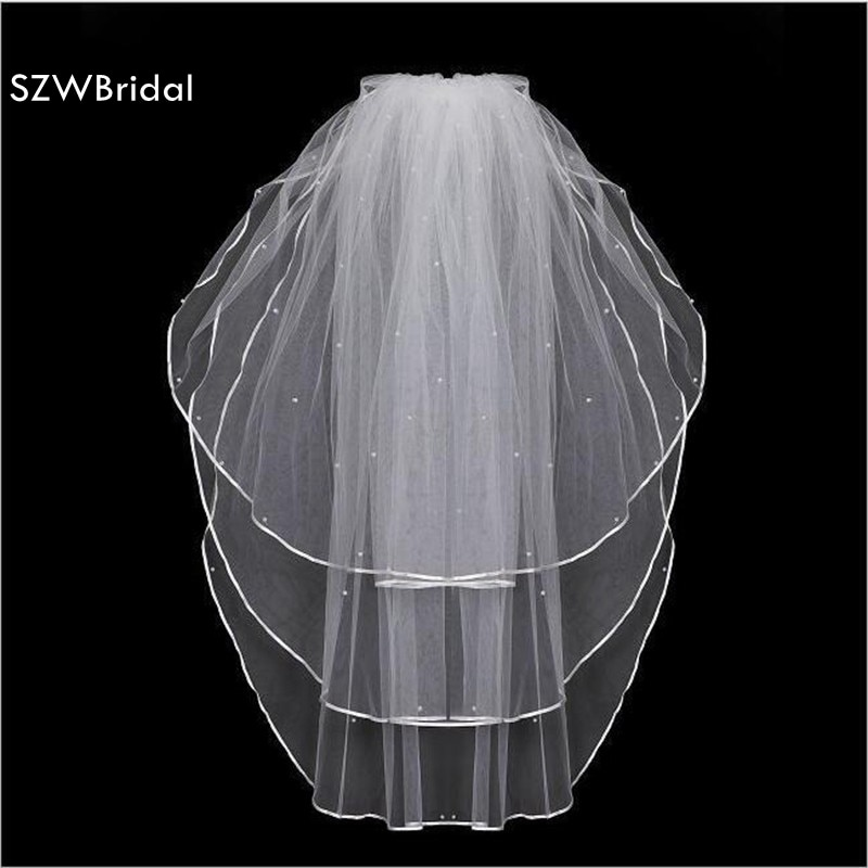 3 Layers Wedding Veil 1.5 meter Short Ivory White Bridal Veils Cheap Veu De Noiva Curto add Pearls Wedding Accessories 2020