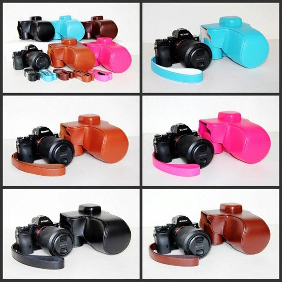 Funda de cuero PU para cámara para Sony A7R ILCE-7R (28-70) funda protectora bolsa cubierta café/negro/marrón/azul/Rosa rojo