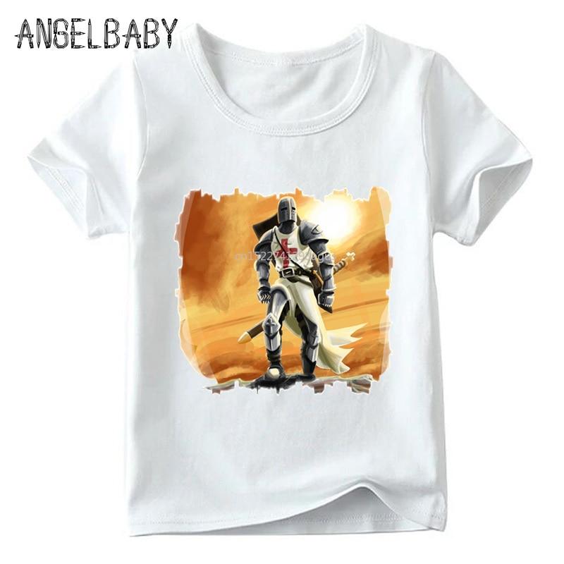 Camiseta blanca Templar Knight para niños y niñas, camisetas de manga corta de verano para niños, camiseta informal para niños, ooo4467