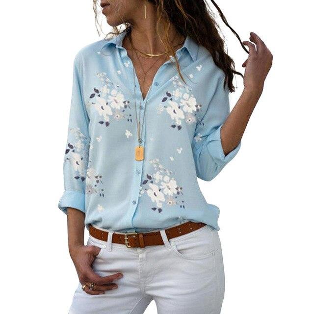 Long Sleeve Women Blouses 2020 Plus Size Turn-down Collar Blouse Shirt Casual Tops Elegant Work Wear Chiffon Shirts 5XL 2