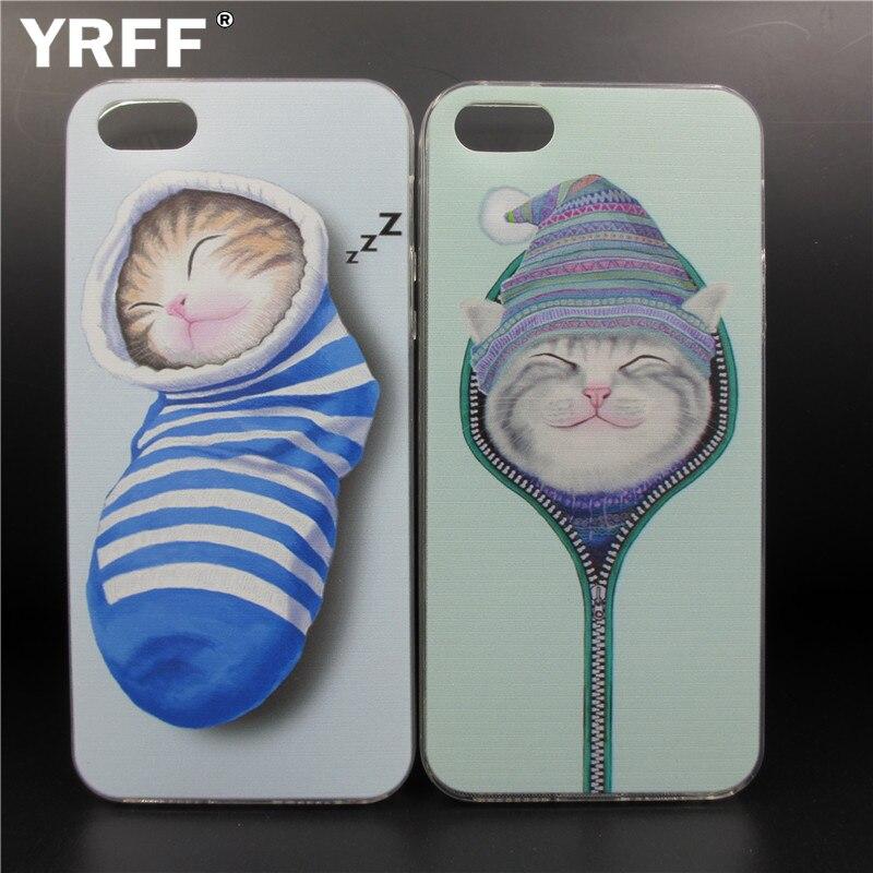 YRFF belle bande dessinée chaussettes chat téléphone étui pour iphone 5 5 S SE