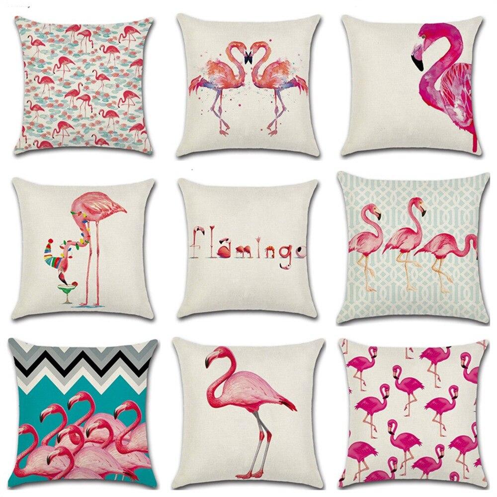 45*45 cm Vögel Werfen Kissenbezug Leinen/baumwolle Flamingo Kissenbezug Auto Sofa Home Decor Almofadas 2018 neue Jahr Navidad Geschenke