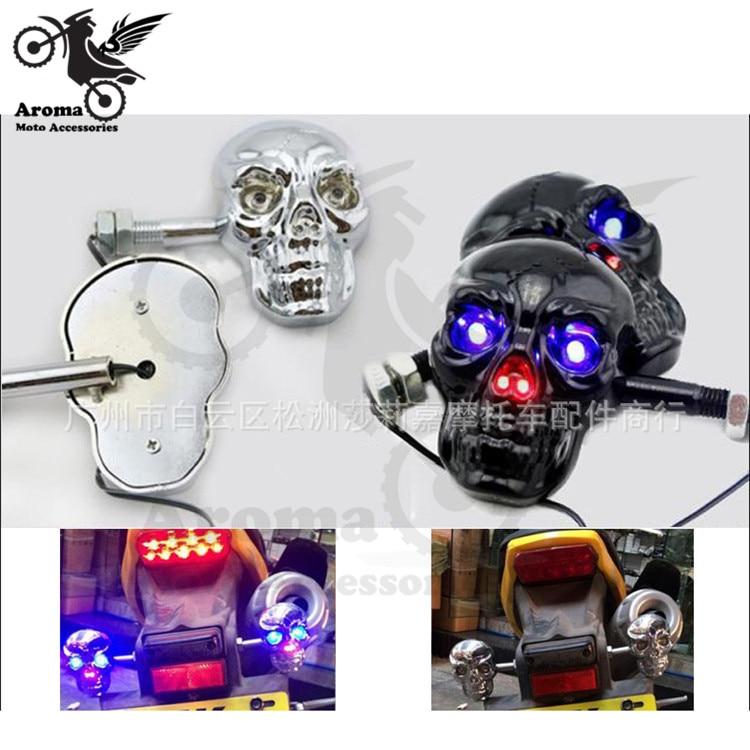 Clignotant squelette moto rbike clignotant   Noir, argent, crâne, moto rbike, clignotant fantôme moto rcycle, scooter 4 modèles disponibles