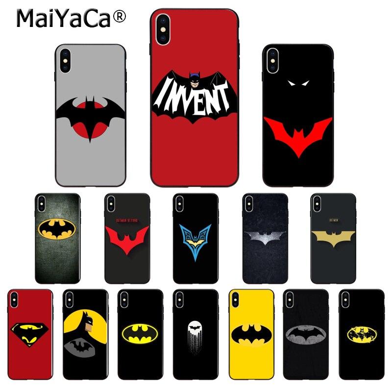MaiYaCa DC superhéroe Batman Logotipo de alta calidad caja del teléfono para iPhone 5 5Sx 6 6 7 7plus 8 8Plus X XS X MAX XR