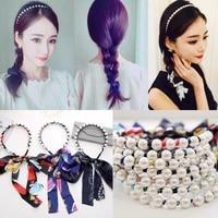 womens clothing 1pcs bow headband pearl chiffon streamers hair band long tassel hair band ladies hair accessories