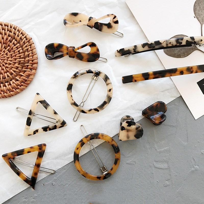 Simple style versatile hair clips Vintage leopard amber geometric bow bangs clip side clip Korean hair accessories unique love heart style zinc alloy hair pin bangs clip black 6 pcs