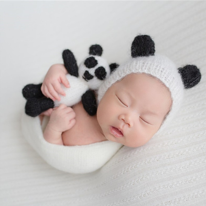 Newborn Photography Props Crochet Knitted Clothes Cute Baby Mohair Panda Hat+Toy Dolls Set Studio Baby Photo Props Accessories