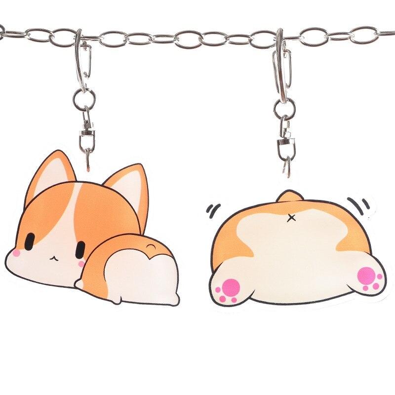 LLavero de caricatura lindo divertido bolso de animé colgante Hamster Corgi Husky perro gato llavero regalo de pareja